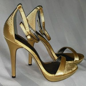 Michael Antonio gold satin heels